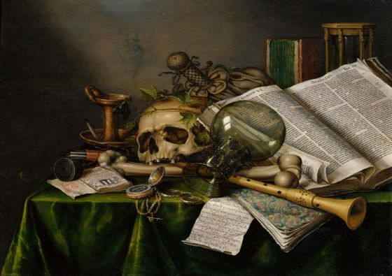 Collier, Edwaert: Vanitas - Still Life with Books, Manuscripts and a Skull. Fine Art Print/Poster. Sizes: A4/A3/A2/A1 (003979)